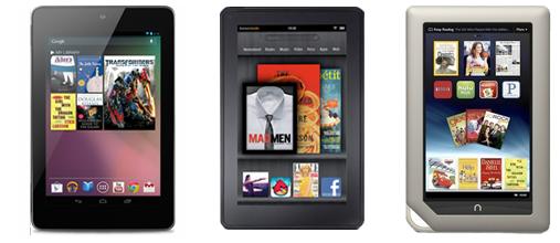 Nook E Reader Vs Kindle: Nexus 7 Vs. Kindle Fire Vs. NOOK Tablet Vs. IPad 3