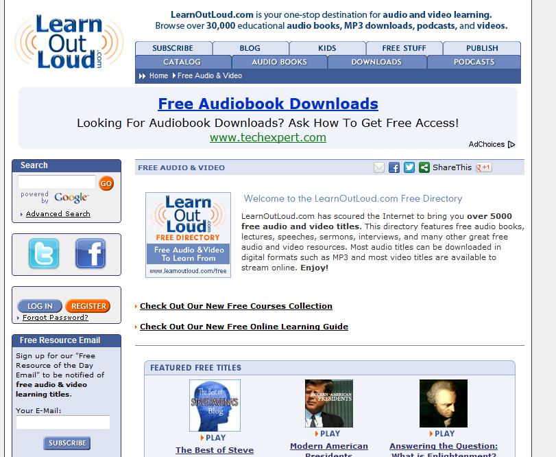Free Audiobooks - LearnOutLoud.com