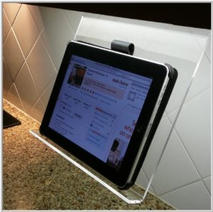 The Original Kitchen iPad Rack: this iPad rack holds your tablet in  landscape or portrait mode. It is very easy to install and works with your  iPad case or ...